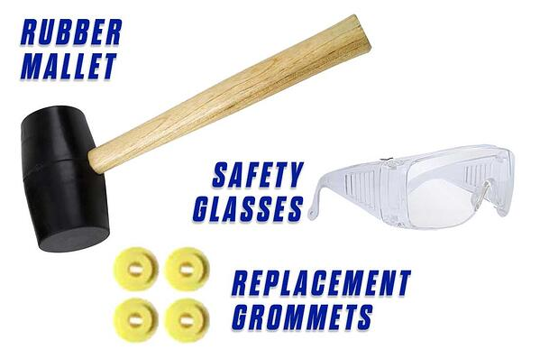 Replace-Grommets-Onfloor-OF16S-EZV-Sander-Pad-rubber-mallet-grommets-goggles-safety