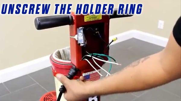 Power-Cord-Onfloor-OF16SEZV-Sander-unscrew-holder-ring